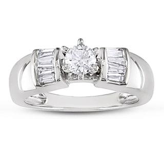 Miadora 10k White Gold 1/2ct TDW Diamond Engagement Ring (H-I, I2-I3) with Bonus Earrings