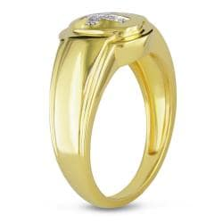 Miadora 18k Goldplated Silver Men's Diamond Accent Cross Ring
