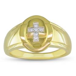Miadora 18k Yellow Goldplated Silver Men's Diamond Cross Ring
