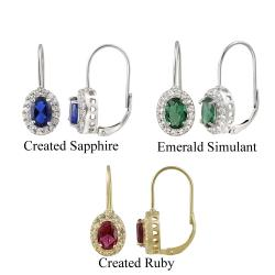 Glitzy Rocks Sterling Silver Gemstone Leverback Earrings