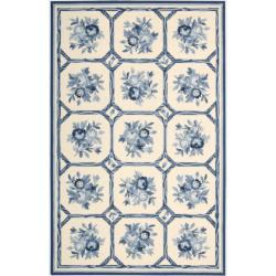 Nourison Hand-hooked Country Heritage Ivory/Blue Rug (5'3 x 8'3)