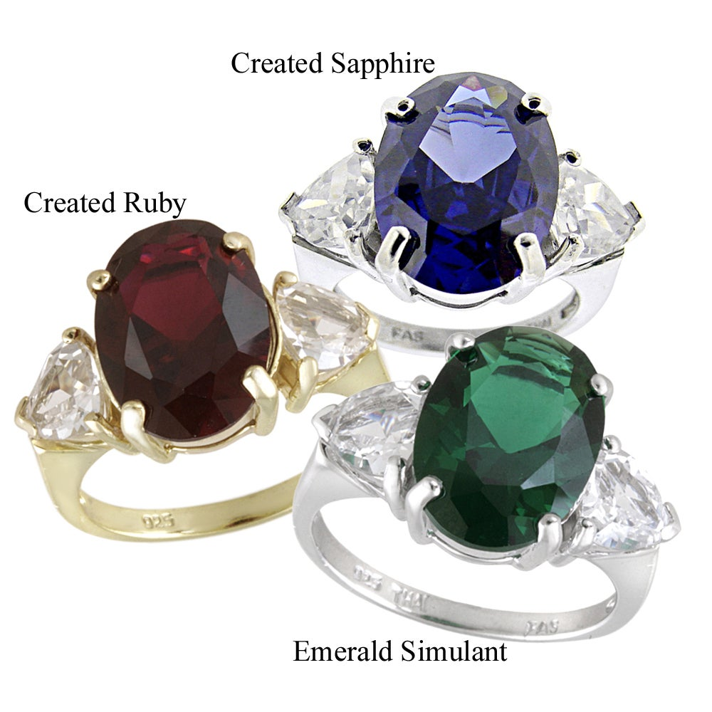 Glitzy Rocks Sterling Silver Lab Created Gemstone Three-Stone Solitaire Ring (8ct TGW)