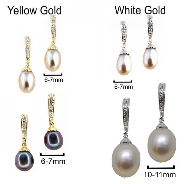 Kabella 14k Gold Vintage Bridal Cultured Freshwater Pearl Diamond Earrings 29907345