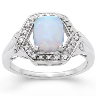 Gioelli Sterling Silver Created Opal and Cubic Zirconia Ring