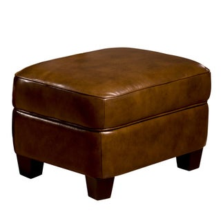Chester Leather Storage Ottoman in Brown
