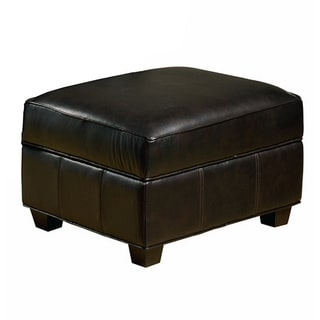 Marbella Leather Storage Ottoman in Chocolate