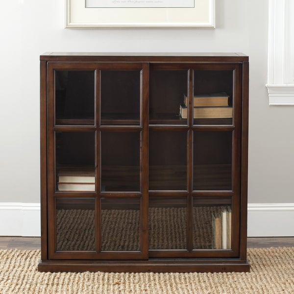 Safavieh Manchester Walnut Storage Sliding Door Bookshelf