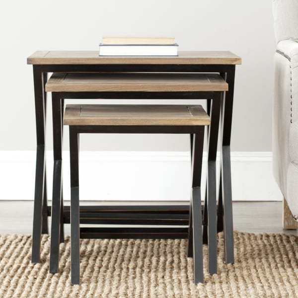 Safavieh York Walnut Finish Top Nesting Tables (Set of 3)