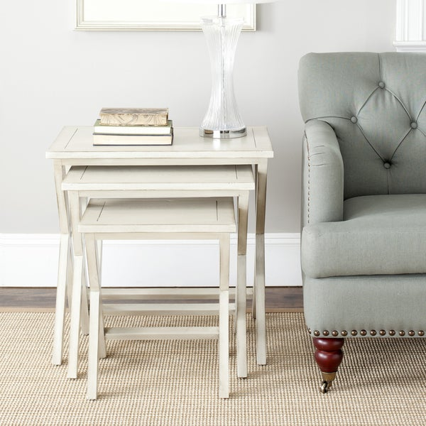 Safavieh Sete Antiqued White BIrch Nesting Tables (Set of 3)