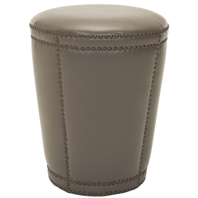 Safavieh Rennes Nailhead Grey Leather Ottoman