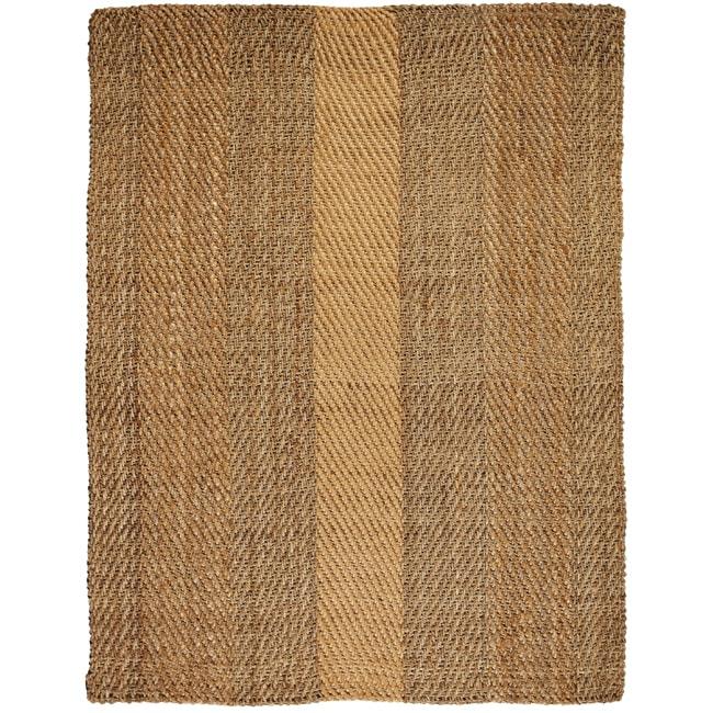 Hand-woven Victory Herringbone Jute Rug (5' x 8')