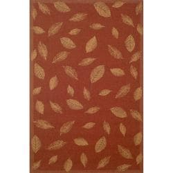 Floating Leaves Red Area Rug (4'11 x 7'6)