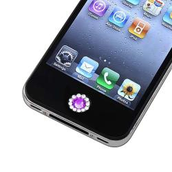 INSTEN Purple Diamond Home Button Sticker for Apple iPhone/ iPad/ iPod Touch