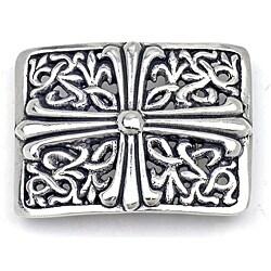 Pewter Silver Cross Design Rectangular Buckle