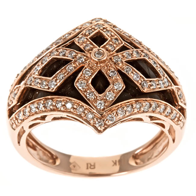 Anika and August 14k Rose Gold Inlaid Onyx and 2/5ct TDW Diamond Ring (G-H, I1-I2)