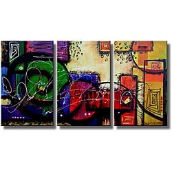 Hand-painted 'Dream and Movement' 3-piece Gallery-wrapped Canvas Art Set