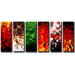 Hand-painted 'Colors and Space' 6-piece Gallery-wrapped Canvas Art Set