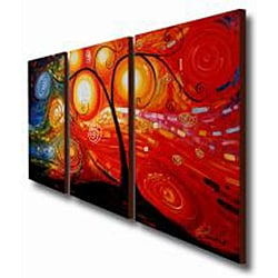 Hand-painted 'Life Tree and Starry Night ' 3-piece Gallery-wrapped Canvas Art Set