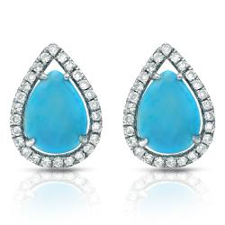 Auriya 14k White Gold Turquoise and 1/4ct TDW Diamond Earrings (G-H, I1-I2)