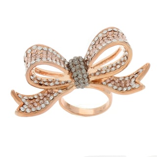 NEXTE Jewelry Rose Goldtone Multi-colored Rhinestone Bow Ring