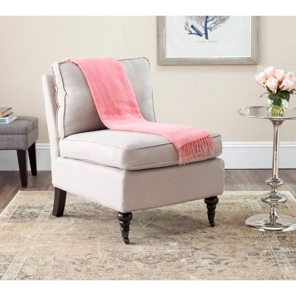 Safavieh Bosio Beige Linen Armless Club Chair