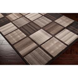 Meticulously Woven Contemporary Brown Accessory Geometric Squares Rug (7'10 x 11'2)