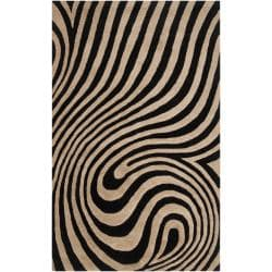 Hand-tufted Contemporary Black/Beige Swirl Bramble Wool Abstract Rug (5' x 7'9)