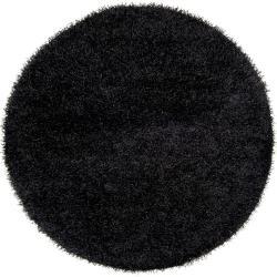 Hand-woven Black Kabi Soft Shag (6' Round)