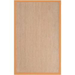 Hand-woven Orange Vessel Natural Fiber Seagrass Cotton Border Rug (5' x 8')