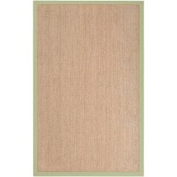 Hand-woven Green Pursuit Natural Fiber Seagrass Cotton Border Rug (8' x 10')