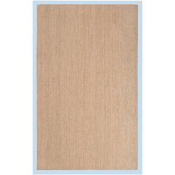 Hand-woven Blue Skilled Natural Fiber Seagrass Cotton Border Rug (8' x 10')