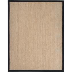 Hand-woven Black Elegant Natural Fiber Seagrass Cotton Border Rug (9' x 13')