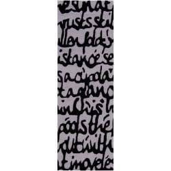 Hand-tufted Contemporary White/Black Scriptive Contemporary Stella Smith New Zealand Wool Abstract Rug (2
