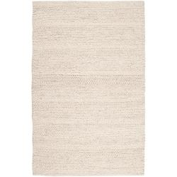 Hand-woven Casual Solid White Aniak Wool Rug (5' x 8')