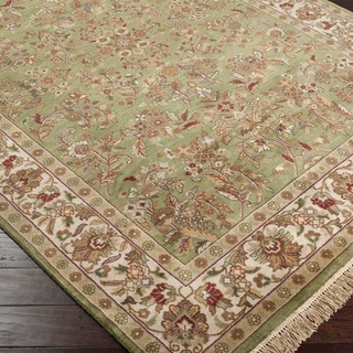Hand-knotted Green Deering Semi-Worsted New Zealand Wool Rug (8'6 x 11'6)