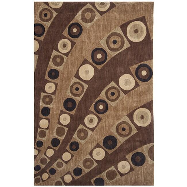 Dynasty Hand-tufted Brown/Cream Geometric Rug (9'6 x 13'6)