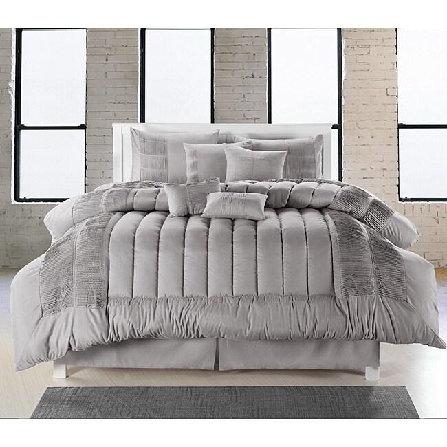 Silver 8-piece Oversized Comforter Set