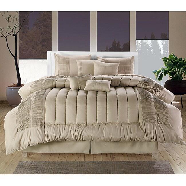 Beige 8-piece Oversized Comforter Set