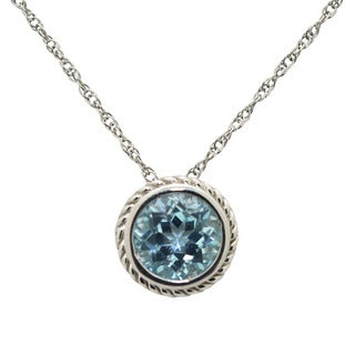 Jenne Sterling Silver Created Sky Blue Topaz Necklace