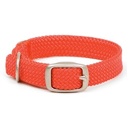 Double-Braid Collar 1-inch Wide up to 24-inches - Red With Brushed Nickel Hardware