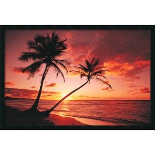 Tropical Beach - Sunset' Framed Art Print with Gel Coated Finish