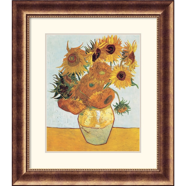 Vincent Van Gogh 'Sunflowers on Blue, 1888 ' Framed Art Print