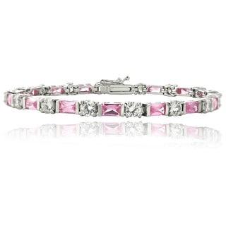 Icz Stonez Sterling Silver Pink & White CZ Bracelet