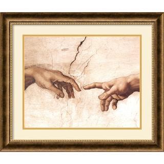Michelangelo Buonarroti 'The Creation of Adam (Detail I)' Framed Art Print