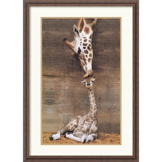 Ron D'Raine 'Makulu - Giraffe First Kiss' Framed Art Print
