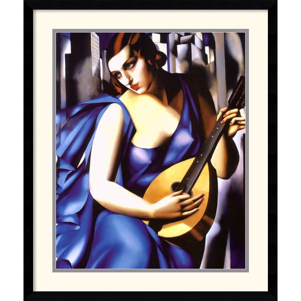 Tamara de Lempicka 'Woman in Blue with Guitar' Framed Art Print