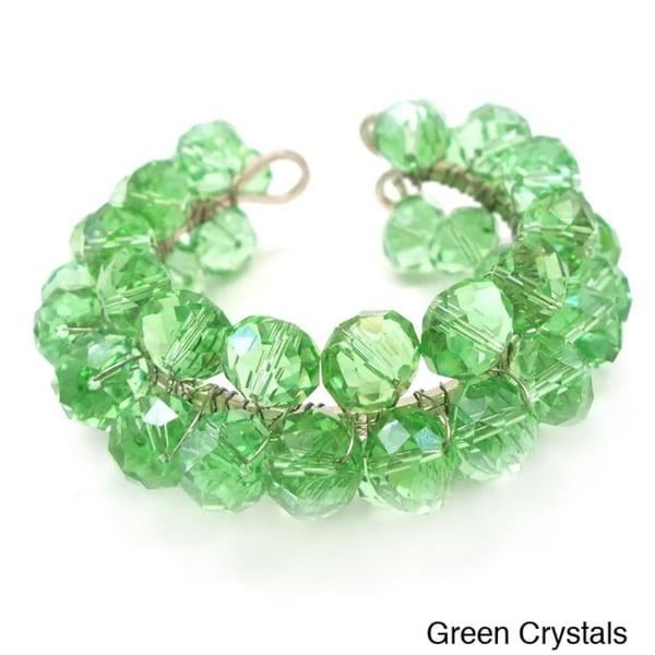 Sweet Green Sheen Crystal Handmade Adjustable Cuff (Thailand)