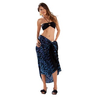 Black Blue and Purple Floral Sarong (Indonesia)
