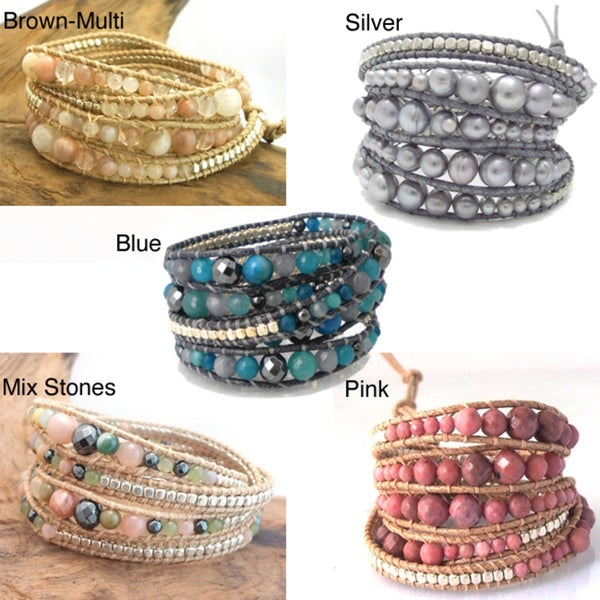 Gemstone Snake Cord Leather Wrap Bracelet (Thailand)