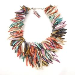 Multicolor Spike Mother Of Pearl Bib Necklace (Thailand)